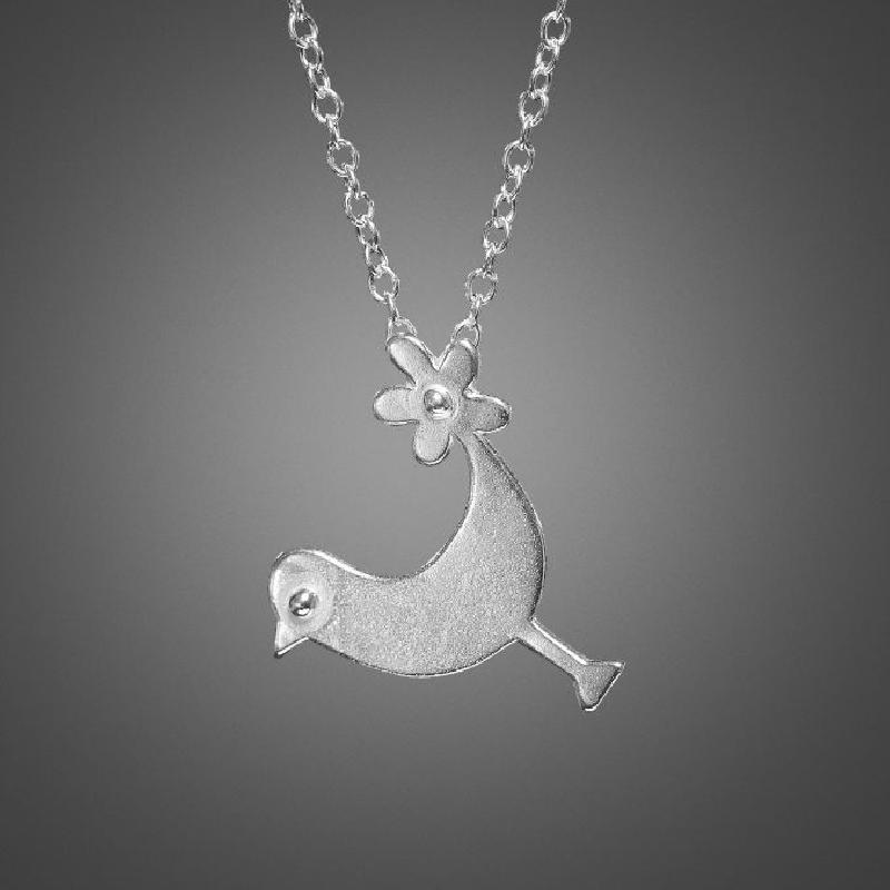 Chicken with Flower Tail Necklace