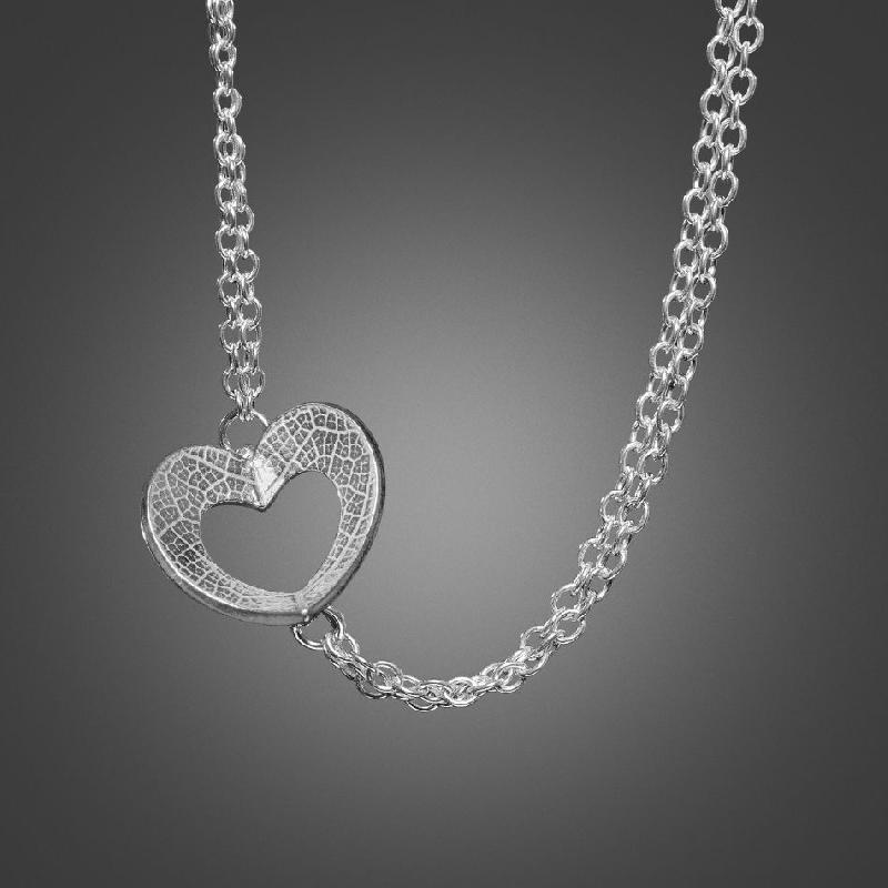 Heart Necklace with Double Chain