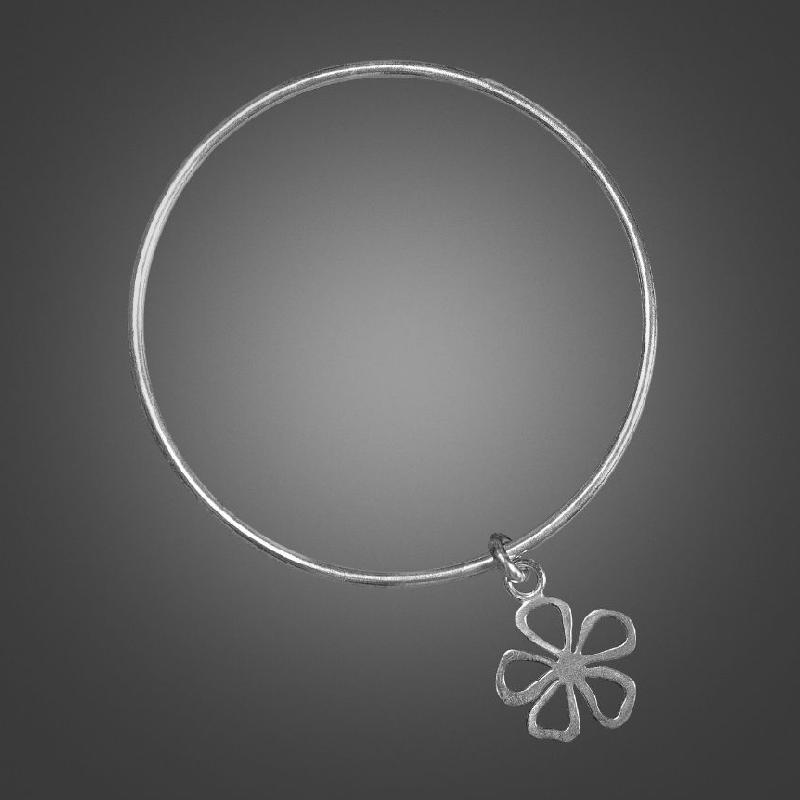 Bangle with Medium Flat Flower Drop
